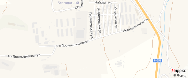 Промышленная улица на карте Улан-Удэ с номерами домов