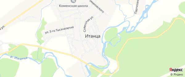 Карта села Итанца в Бурятии с улицами и номерами домов