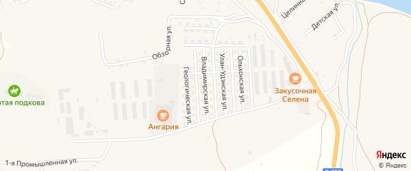 Владимирская улица на карте села Сотниково с номерами домов