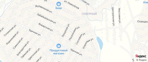 Поселковая улица на карте поселка Загорска с номерами домов