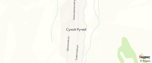 Карта села Сухого Ручья в Бурятии с улицами и номерами домов