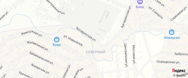 Улица Аргадинская квартал Северный на карте села Сужа с номерами домов