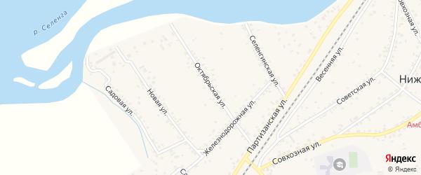 Октябрьская улица на карте села Нижнего Саянтуя с номерами домов