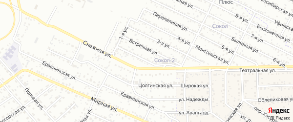 Улица 1-я (СНТ Коммунальник) на карте Улан-Удэ с номерами домов