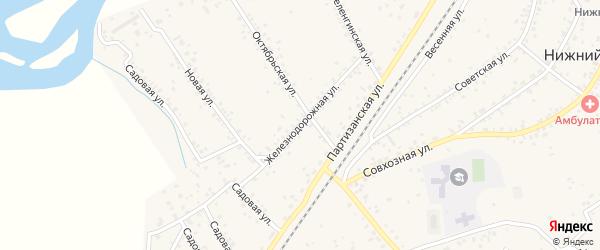Железнодорожная улица на карте села Нижнего Саянтуя с номерами домов