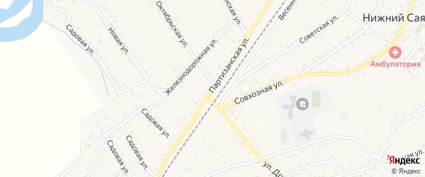 Партизанская улица на карте села Нижнего Саянтуя с номерами домов