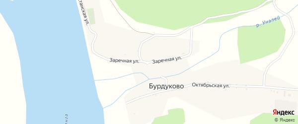 Заречная улица на карте села Бурдуково с номерами домов