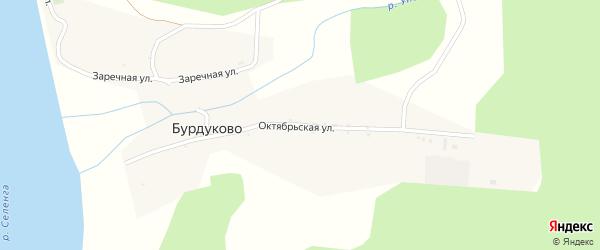 Октябрьская улица на карте села Бурдуково с номерами домов