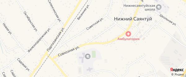 Совхозная улица на карте села Нижнего Саянтуя с номерами домов
