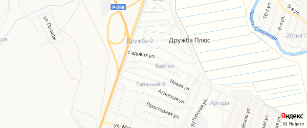 ДНТ Байгал Домнинская территория на карте Иволгинского района с номерами домов