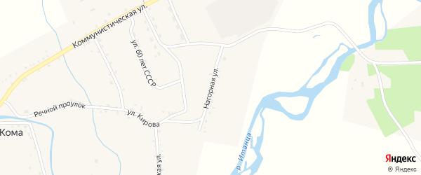 Нагорная улица на карте села Комы с номерами домов