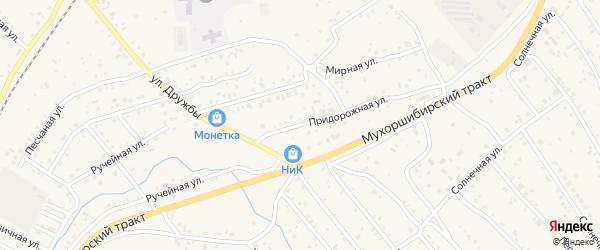 Придорожная улица на карте села Нижнего Саянтуя с номерами домов
