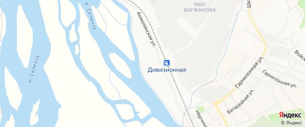 Карта Дивизионной станции города Улан-Удэ в Бурятии с улицами и номерами домов