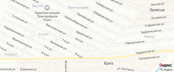 ДНТ Пригородное 2 Уфимская улица на карте села Поселье с номерами домов