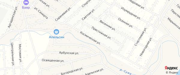 Улица Космическая (ДНТ Престиж) на карте села Поселье с номерами домов