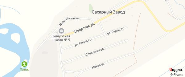 Улица Горького на карте поселка Сахарного Завода с номерами домов