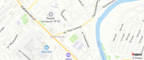 Улица Толстихина улица на карте территории СНТ Заречного с номерами домов