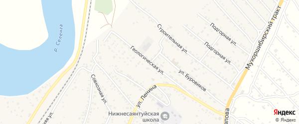 Геологическая улица на карте села Нижнего Саянтуя с номерами домов