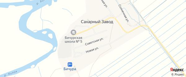 Карта поселка Сахарного Завода в Бурятии с улицами и номерами домов