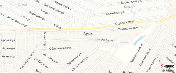 Светлый переулок на карте территории ДНТ Бриза с номерами домов