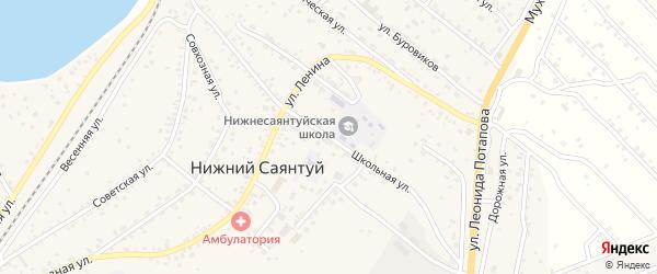 Школьная улица на карте села Нижнего Саянтуя с номерами домов