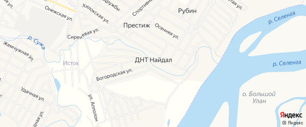 Территория ДНТ Баира на карте села Поселье с номерами домов