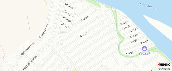1-ая улица на карте территории СНТ Профсоюзника с номерами домов