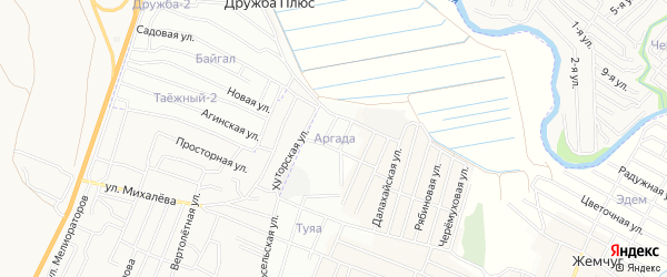 Территория ДНТ Аргада на карте Иволгинского района с номерами домов