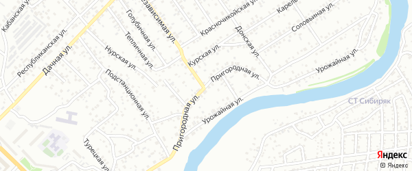 Пригородная улица на карте Улан-Удэ с номерами домов