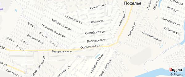Территория ДНТ Беркут на карте села Поселье с номерами домов