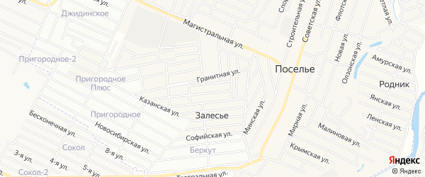 Территория ДНТ Селенга плюс на карте села Поселье с номерами домов