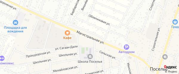 Магистральная улица на карте села Поселье с номерами домов