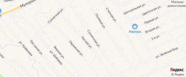 Солнечная улица на карте села Нижнего Саянтуя с номерами домов