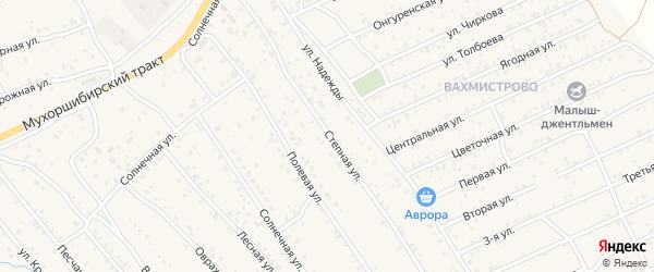 Степная улица на карте дачного некоммерческого партнерства ДНТ Селенги с номерами домов