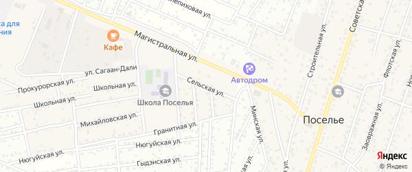 Сельская улица на карте села Поселье с номерами домов