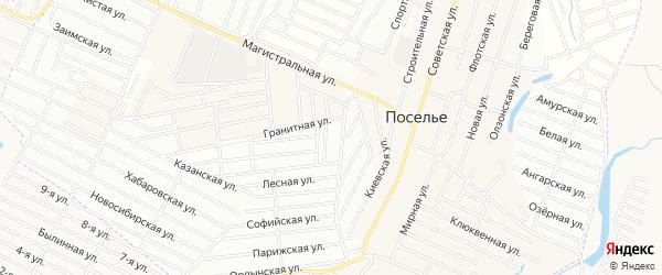 Территория ДНТ Жаргаланта на карте села Поселье с номерами домов