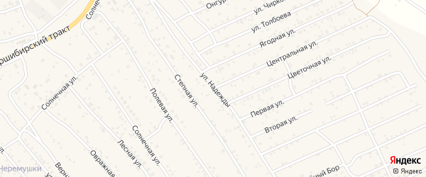 Улица Луч Надежды на карте территории ДНТ Надежды с номерами домов