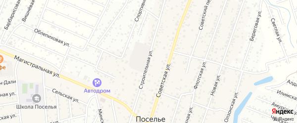 Строительная улица на карте села Поселье с номерами домов