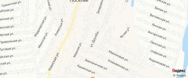 Улица Дружбы на карте села Поселье с номерами домов