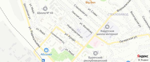 Новгородская улица на карте Улан-Удэ с номерами домов