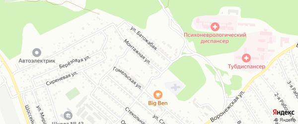 Монтажная улица на карте Улан-Удэ с номерами домов