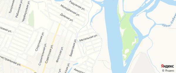 Территория СНТ Снежный на карте Иволгинского района с номерами домов