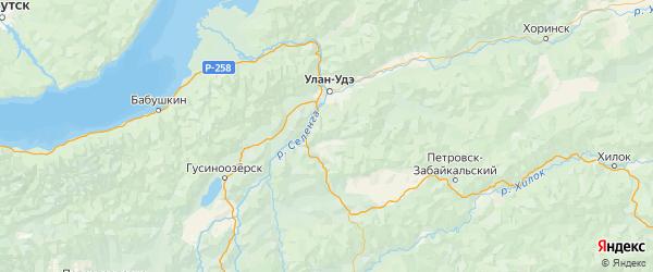 Карта Тарбагатайского района республики Бурятия с населенными пунктами и городами