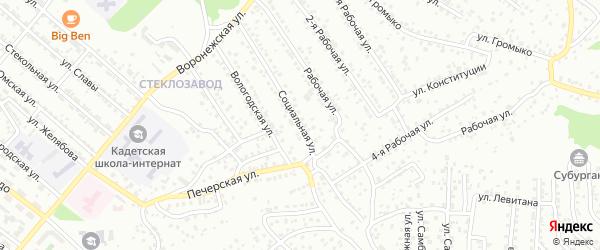 Социальная улица на карте Улан-Удэ с номерами домов
