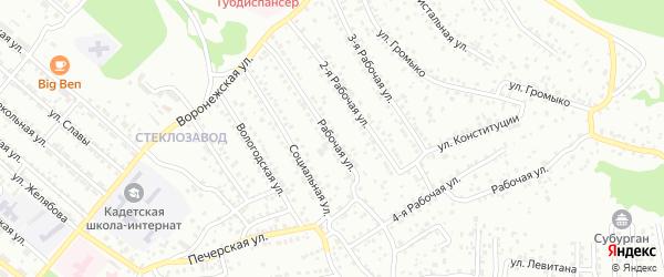 Рабочая улица на карте Улан-Удэ с номерами домов