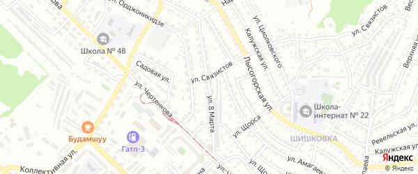 8-ая улица на карте территории СНТ Сибиряка с номерами домов