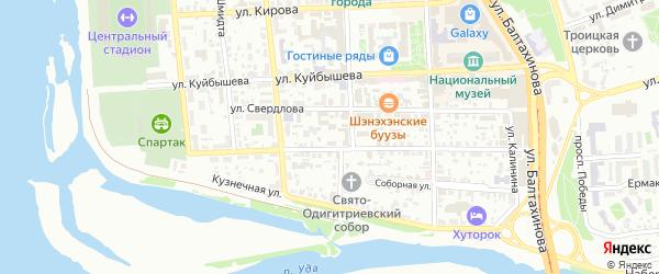 Площадь Банзарова на карте Улан-Удэ с номерами домов