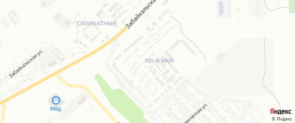 105-й микрорайон на карте Улан-Удэ с номерами домов
