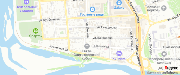 Улица Банзарова на карте Улан-Удэ с номерами домов