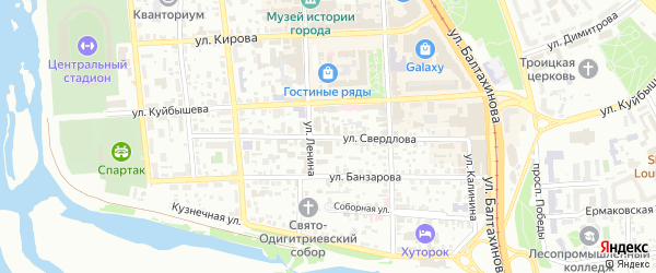 Улица Свердлова на карте Улан-Удэ с номерами домов